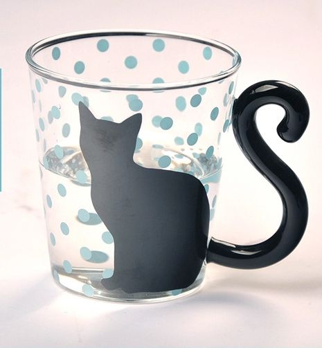 Black Cat Fans can't resist mugs with Black Cats! Our Black Kitty Glass Mugs have tails for handles and are perfect for any hot or cold beverage. Black Cat with Blue Dots and Cat Tail Handle