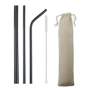 Eco-Friendly Reusable Stainless Steel Straw Set - Kitty's Beans Coffee, Tea & Kitchen