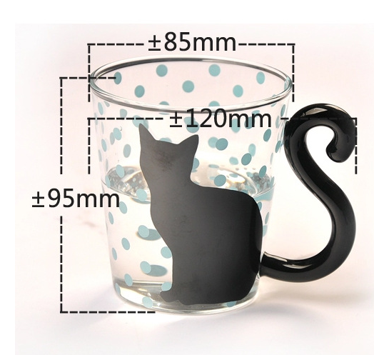 Black Cat Fans can't resist mugs with Black Cats! Our Black Kitty Glass Mugs have tails for handles and are perfect for any hot or cold beverage. Black Cat with Blue Dots and Cat Tail Handle with measurements.