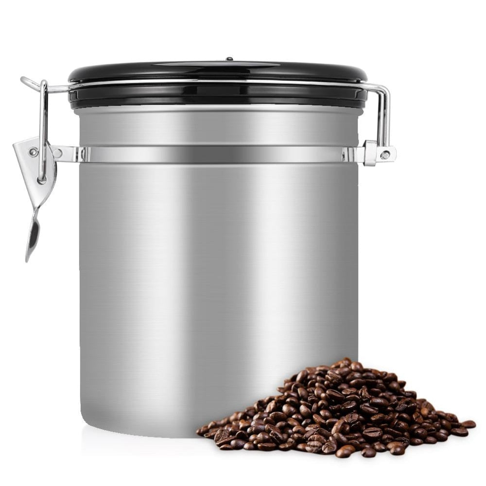 Coffee keeps freshest, longest in an airtight container. Take good care of your Kitty's Beans Coffee with this stainless steel 1.5 liter Airtight Coffee Canister. Canister includes a dial for keeping track of how long your coffee has been stored. Silver canister with black lid and silver colored closure.