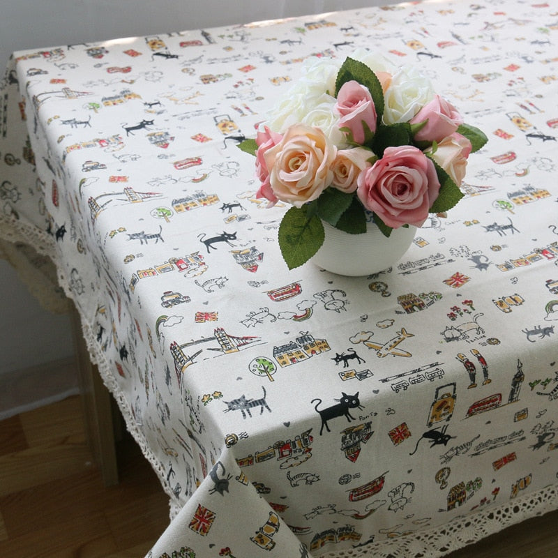 Cartoon Cat Linen Tablecloth