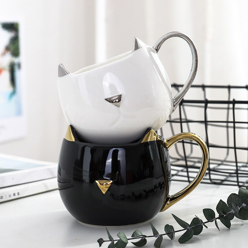 Fancy Cat Face Ceramic Mug - Kitty's Beans Coffee, Tea & Kitchen