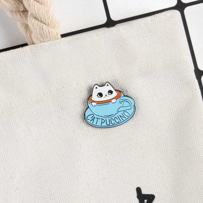 Cat in the Coffee Cup Pin - Kitty's Beans Coffee, Tea & Kitchen