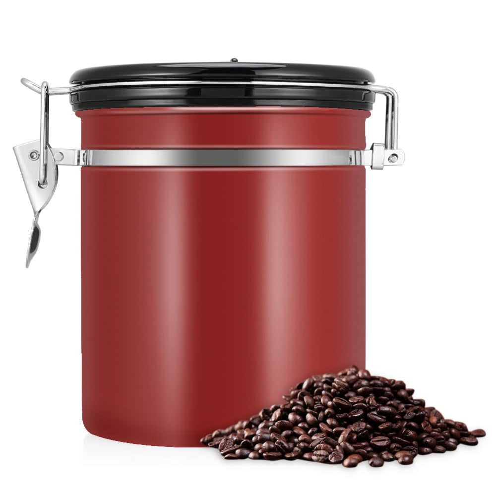 Coffee keeps freshest, longest in an airtight container. Take good care of your Kitty's Beans Coffee with this stainless steel 1.5 liter Airtight Coffee Canister. Canister includes a dial for keeping track of how long your coffee has been stored. Red canister with black lid and silver colored closure.