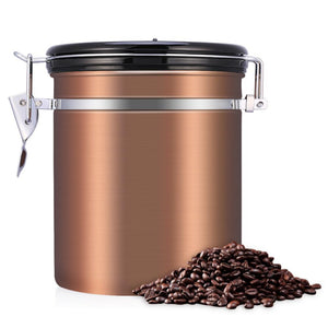 Coffee keeps freshest, longest in an airtight container. Take good care of your Kitty's Beans Coffee with this stainless steel 1.5 liter Airtight Coffee Canister. Canister includes a dial for keeping track of how long your coffee has been stored. Gold canister with black lid and silver colored closure.