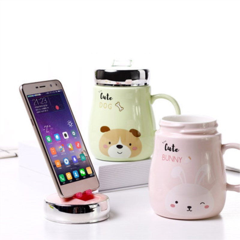 Ceramic Mug with Mobile Phone Holder Lid - Kitty's Beans Coffee, Tea & Kitchen