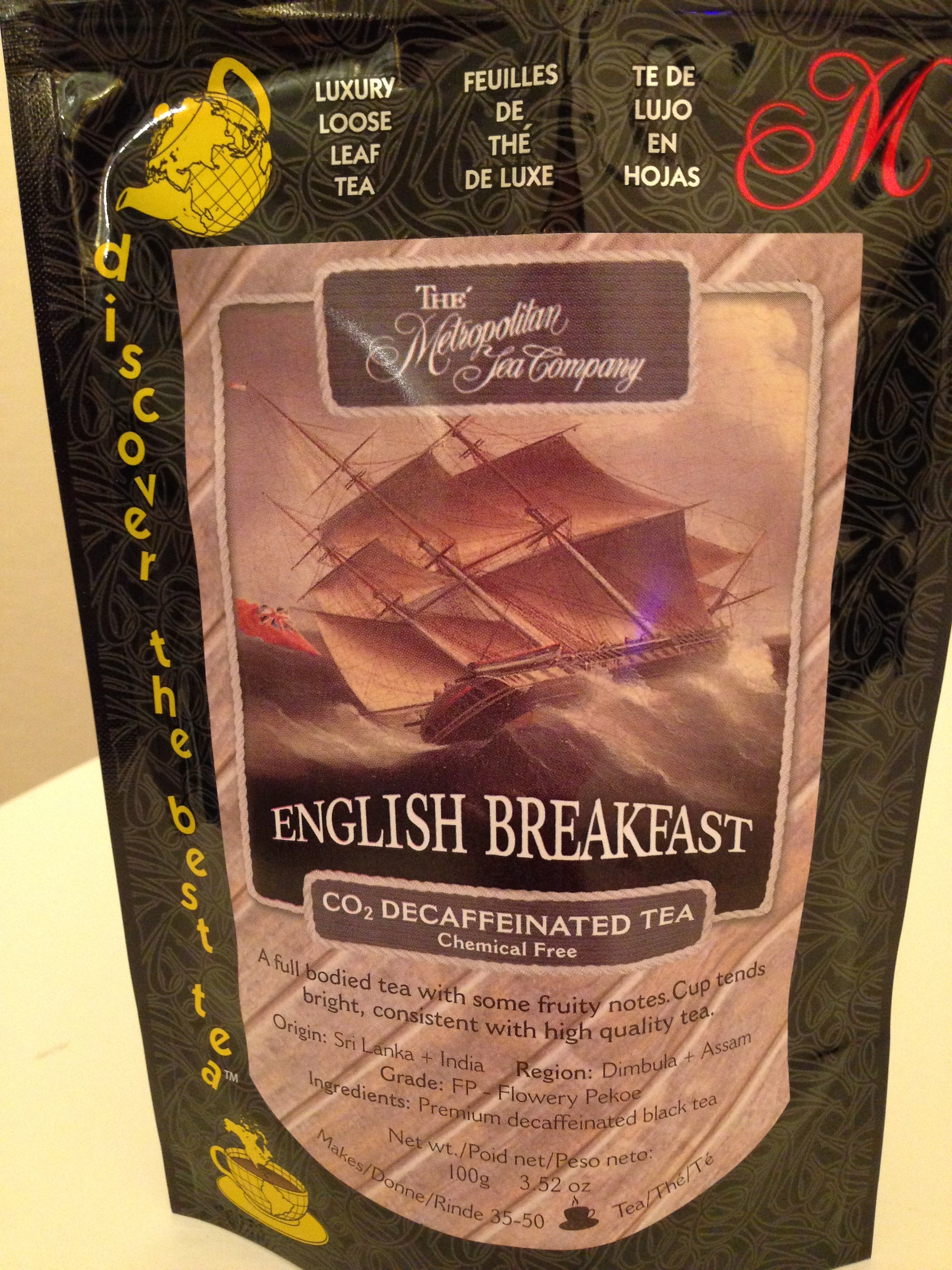 Decaf English Breakfast Loose Leaf Tea - 3.52 ounce - Kitty's Beans Coffee, Tea & Kitchen