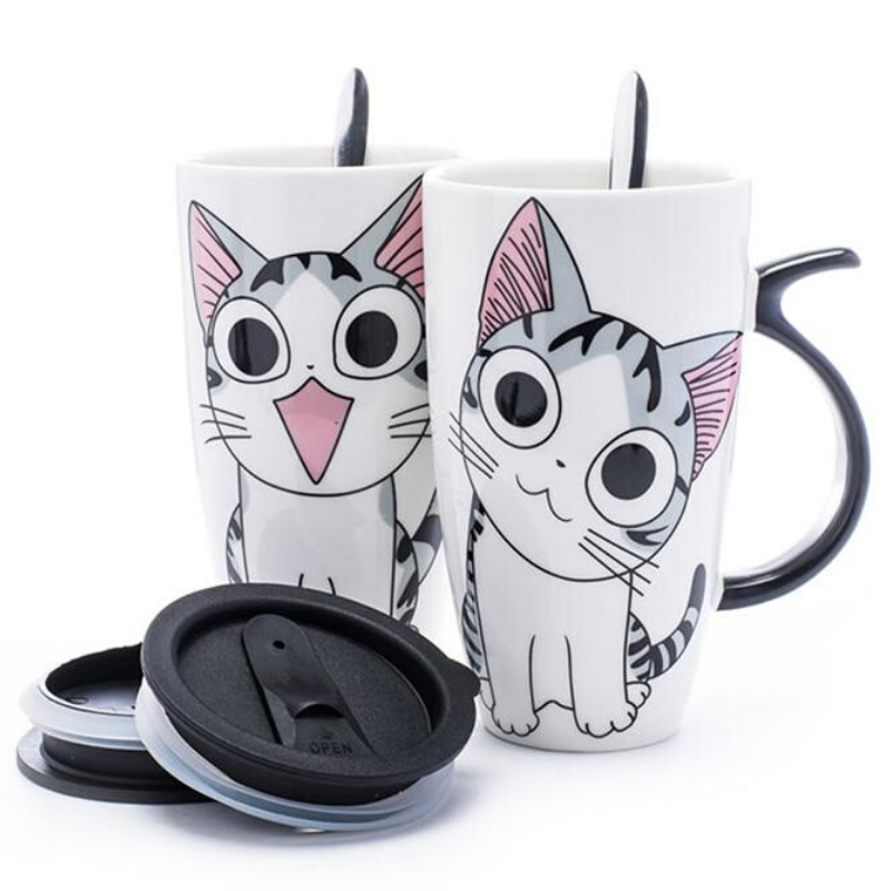 Large Ceramic Cat Mug With Lid and Spoon - Kitty's Beans Coffee, Tea & Kitchen
