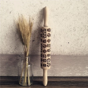 Christmas Embossed Rolling Pin for Cookies or Fondant