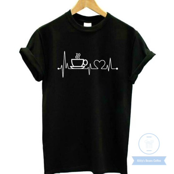 Coffee Lifeline Print Cotton Tee - Kitty's Beans Coffee, Tea & Kitchen
