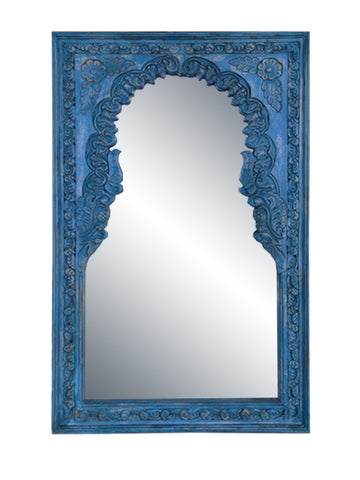 Blue Wood Indian Arched Mirror