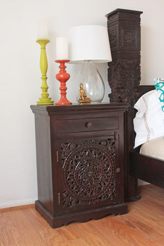Hand carved Bedside Nightstand