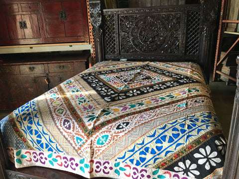Multi Color Indian patchwork mirror bedding