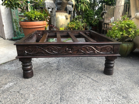Wooden Hand Carved Ottoman