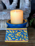 Hand painted wood candle stand