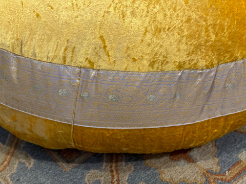 Gold Yellow Velvet fabric Round Cushion