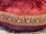 Burgundy Velvet fabric Round Cushion