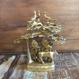 Brass Radha and Krishna under a tree idol 7""