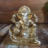 Brass Ganesha Sitting On Peacock 5""