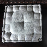 Gray Brocade floor sitting Cushion