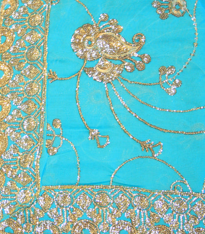 Indian Sari Fabric Electric Teal/Seafoam Green