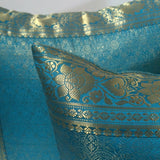 Indian sari pillows Cover Turquoise Raj