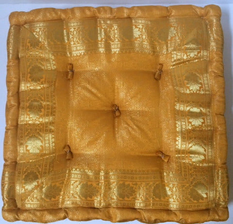 Yellow Gold sari floor sitting Cushion