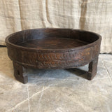 Indian Hand carved grinder table/ Chakki