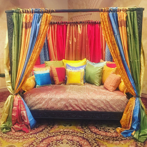 Triple arch Jhulla style Indian Canopy Bed,  DayBed