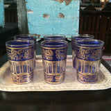 Blue with Gold Paisley and Floral motif Moroccan Tea Glasses.