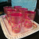 Pink with Gold Paisley and Floral motif Moroccan Tea Glasses.