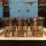 Purple with Gold Paisley and Floral motif Moroccan Tea Glasses