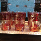 Red with Gold Paisley and Floral motif Moroccan Tea Glasses.