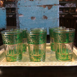 Green with Gold Paisley and Floral motif Moroccan Tea Glasses.