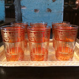 Orange with Gold Paisley and Floral motif Moroccan Tea Glasses