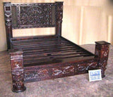 Hand Carved Low Pillar Lotus Bed