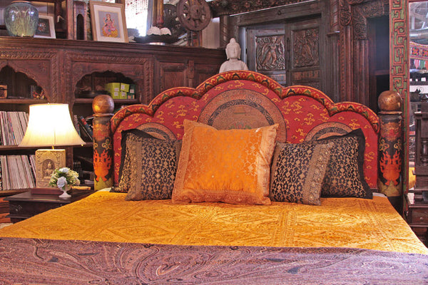Indian Style Beds Mandala Low Pillar Arch Canopy