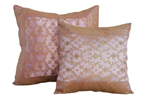 Pink and Gold Kela Sari Pillow Cover