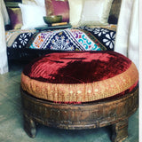 Indian Vintage Chakki with Velvet fabric Cushion