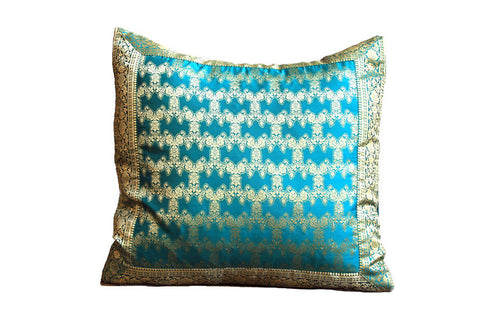 Indian Sari Fabric Turquoise Fatima Pillow Cover on sale