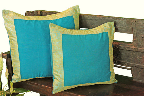 Turquoise Art Silk Pillow Cover