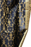 Indian Sari Fabric Black Curtain-KELA