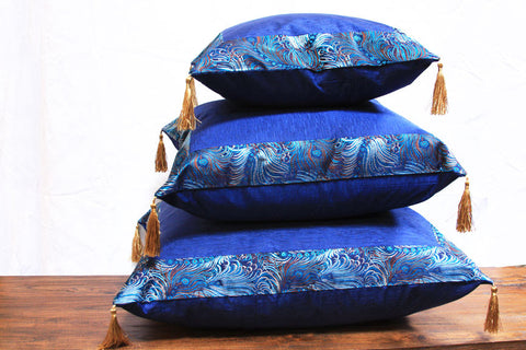 BLUE CHINESE STYLE JACARD BORDER WHIT ART SILK INSET