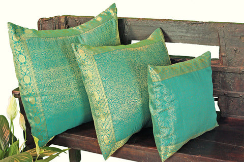 Teal Green Raj Pillow Cover