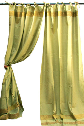 Indian Fabric Art Silk Olive Green Curtain