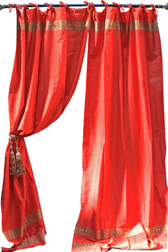 Indian Fabric Red Art Silk Curtains