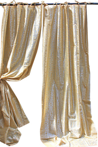Indian Sari Fabric Champagne  Kela Curtains