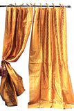 Indian Sari Fabric Gold Kela Curtains