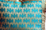 Indian Sari Fabric Fatima Aqua Pillow Cover on sale