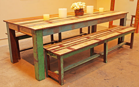 Reclaimed Wood Dining Set with Benches